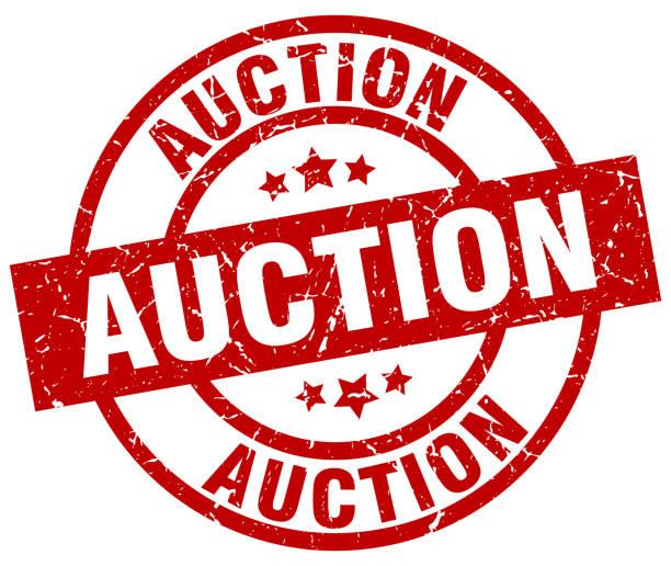auction round red grunge stamp vector art illustration