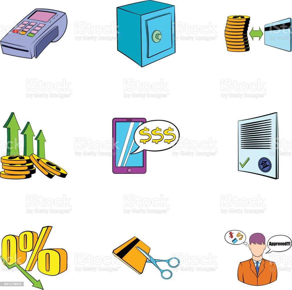 Auction sale icons set, cartoon style vector art illustration