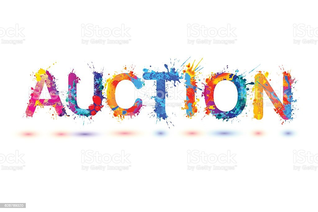 Auction. Splash pain sign vector art illustration