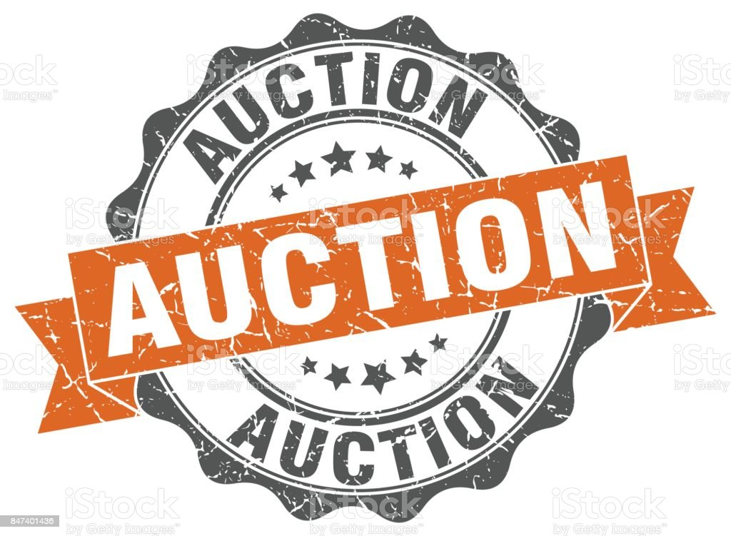 auction stamp. sign. seal vector art illustration