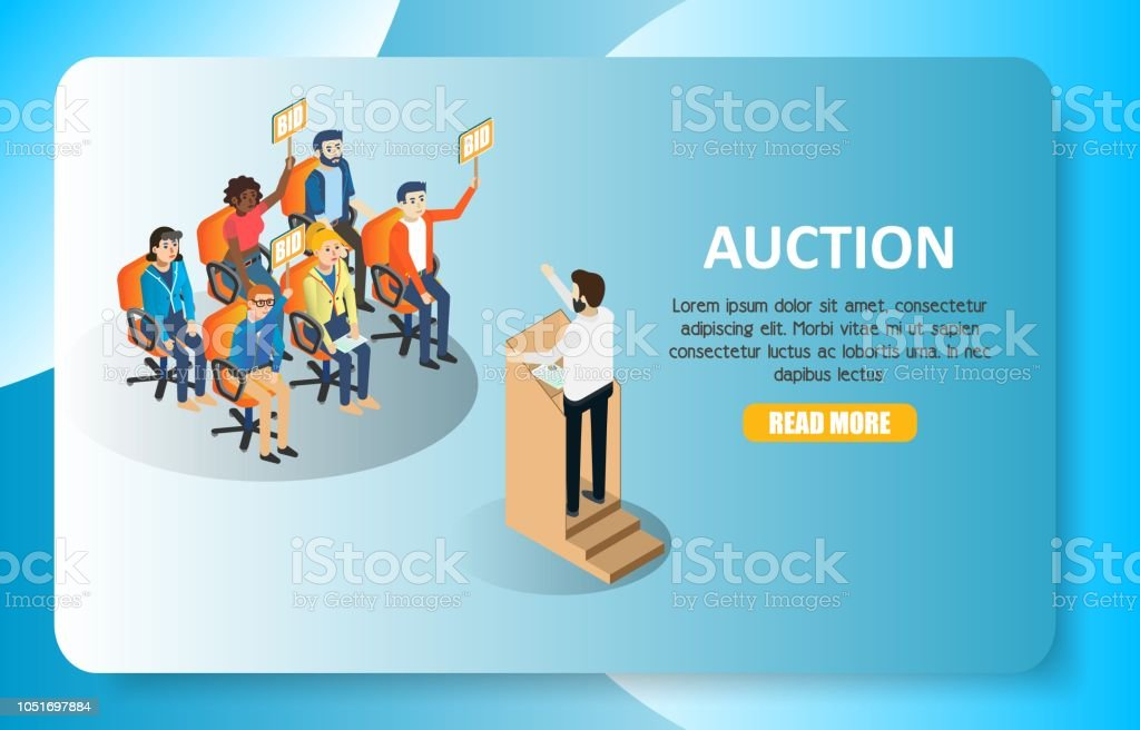 Auction Vector Isometric Web Banner Website Template Stock Illustration Download Image Now Istock