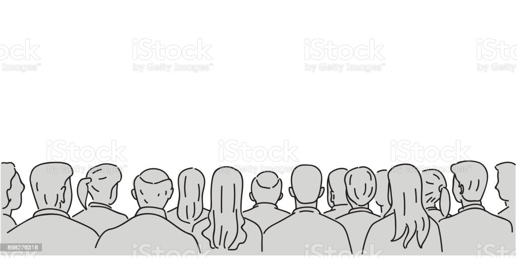 Audience background with blank space vector art illustration