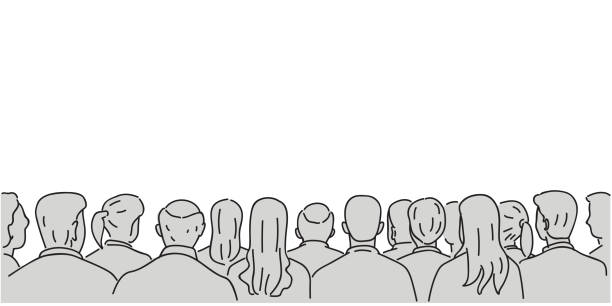 Audience background with blank space Vector illustration character of audience in the conference hall background with blank space for your text and design. Outline, thin line art, linear, doodle, cartoon, hand drawn sketch. audience stock illustrations