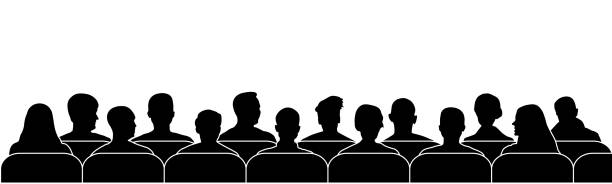 Audience cinema, theater. Public presentation anonymous faces. Crowd of people in the auditorium, silhouette vector isolated Audience cinema, theater. Public presentation anonymous faces. Crowd of people in the auditorium, silhouette vector isolated audience stock illustrations