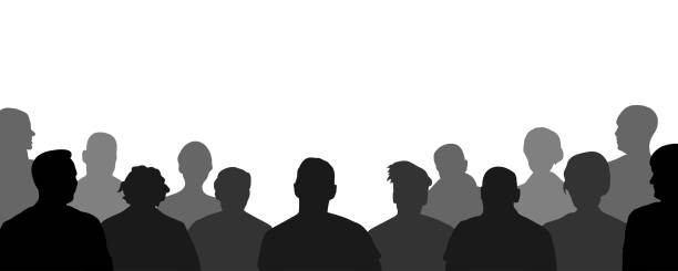 Audience, public, auditory, classroom. Crowd of people auditorium, silhouette vector Audience, public, auditory, classroom. Crowd of people auditorium, silhouette vector watching stock illustrations