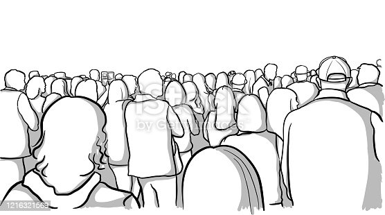 Vector sketch drawing of a crowd of people, rear view.