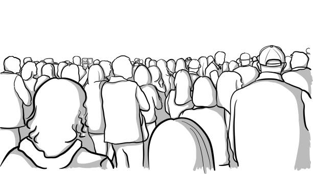 Audience Rear View Crowd vector art illustration