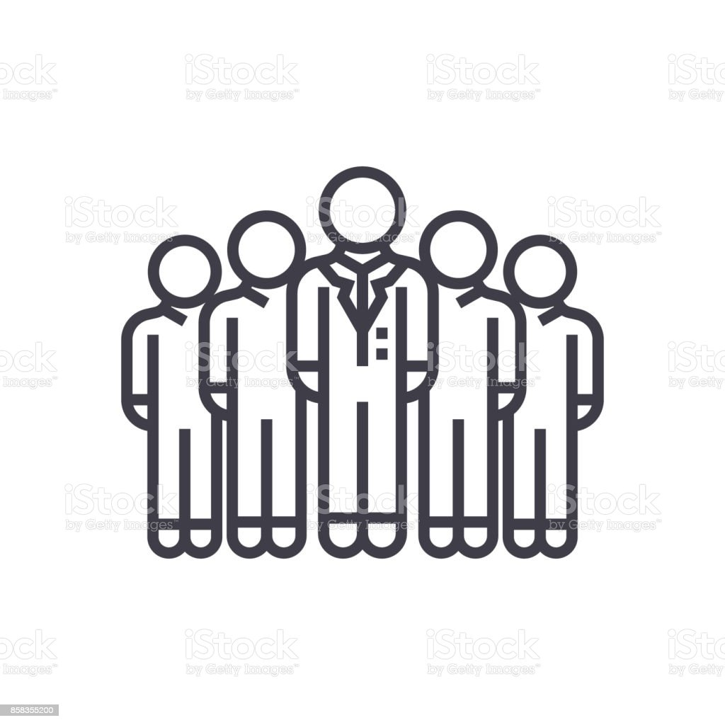 audience,marketing team,workgroup vector line icon, sign, illustration on background, editable strokes vector art illustration