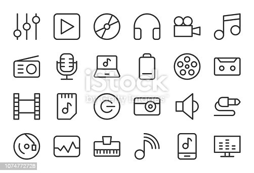 Audio and Multimedia Light Line Series Vector EPS File.