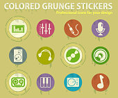Audio and music colored grunge icons with sweats glue for design web and mobile applications