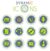 Audio and music vector icons on white background with dynamic lines for animation for web and user interface design