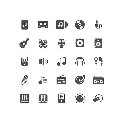 Audio and Music Flat Icons Set