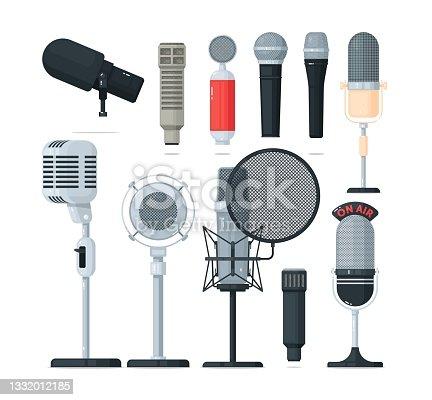 istock Audio and radio microphone, voice recorder equipment set 1332012185
