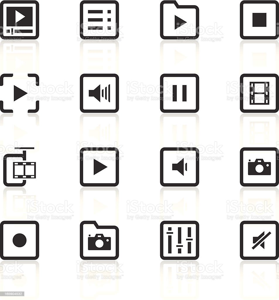Audio and video themed icon set vector art illustration