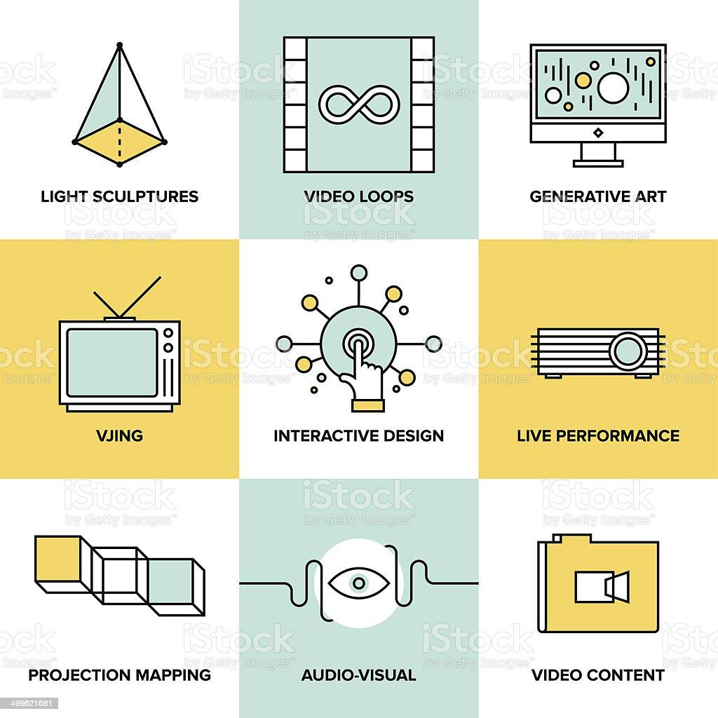 Audio and visual art design flat icons vector art illustration