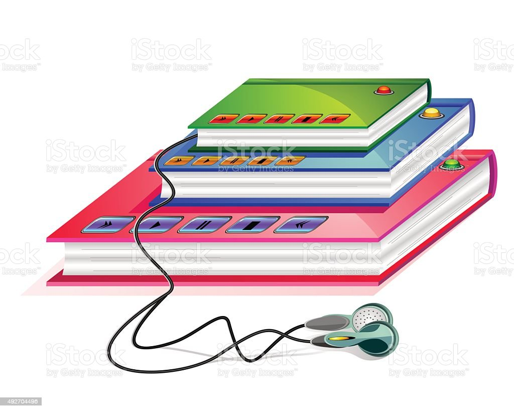 Group of books with connected earphones and control buttons