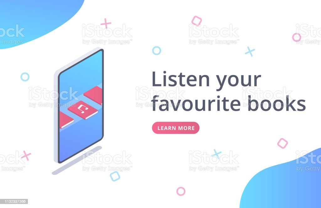 Audio books landing page. Isometric concept of audio books electronic...