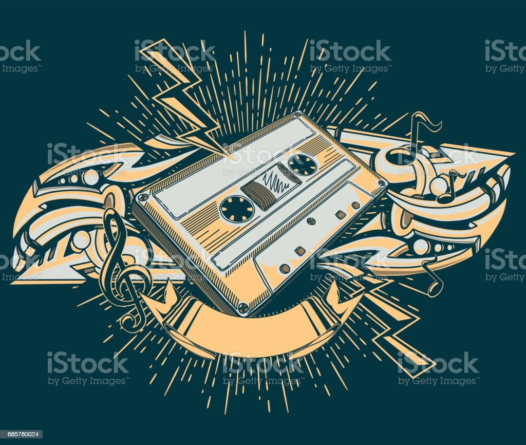 Audio cassette and graffiti arrows music design royalty free audio cassette and graffiti arrows music