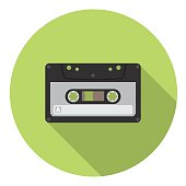 Audio Cassette Flat Style Design Icon