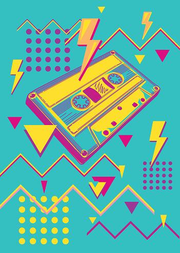 Audio cassette funky colorful music design