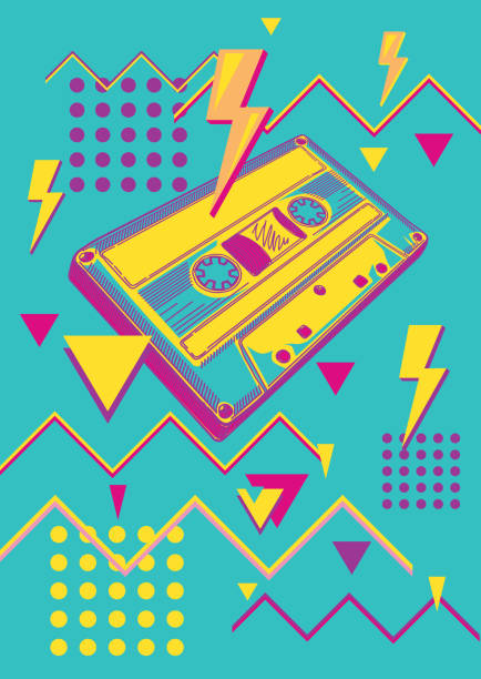 ilustrações, clipart, desenhos animados e ícones de projeto colorido funky da música da gaveta audio - fita cassete