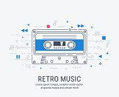 Audio cassette modern line art style vector illustration.