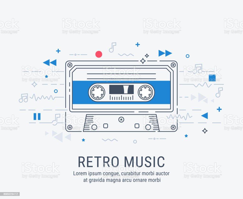 Audio cassette modern line art style. vector art illustration