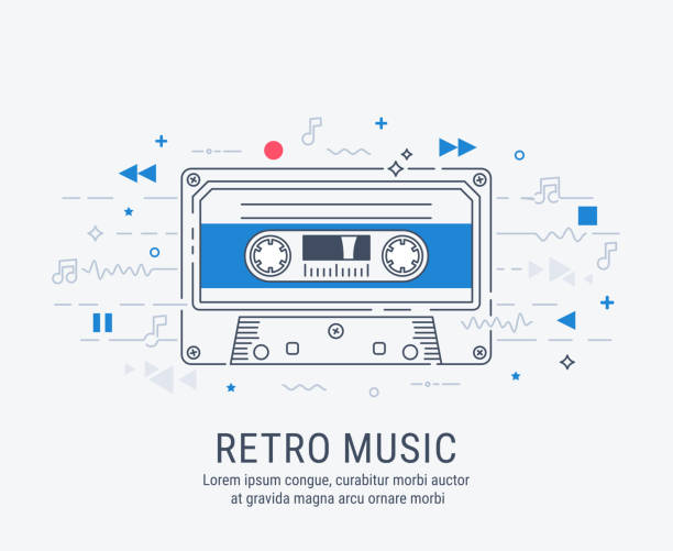 audio cassette modern line art style. - record analog audio stock illustrations