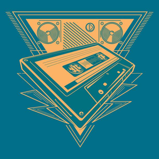 Audio cassette music emblem decorative vector artwork electronic music stock illustrations