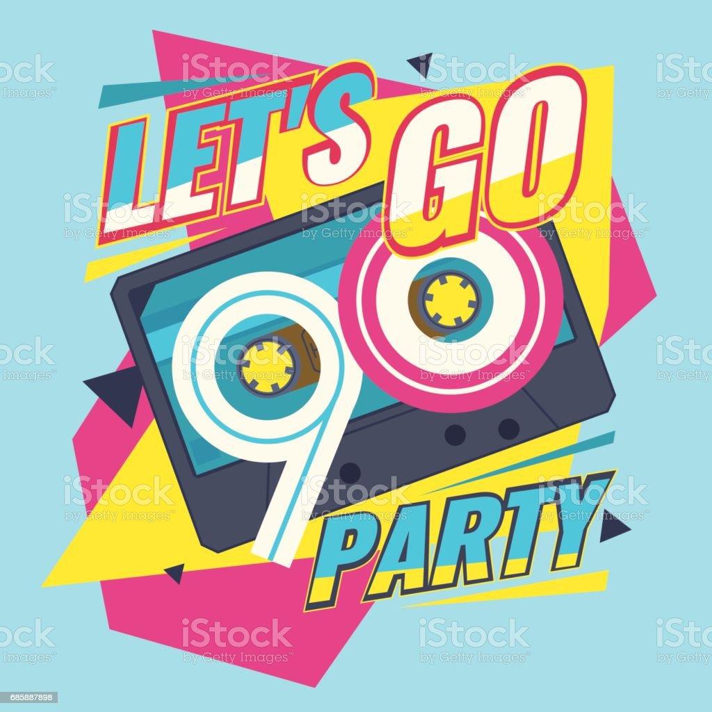 Audio cassette on red background. Retro music 90s vector art illustration