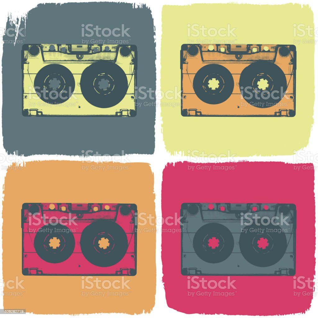Audio cassette pop-art concept. Vector, EPS8 vector art illustration