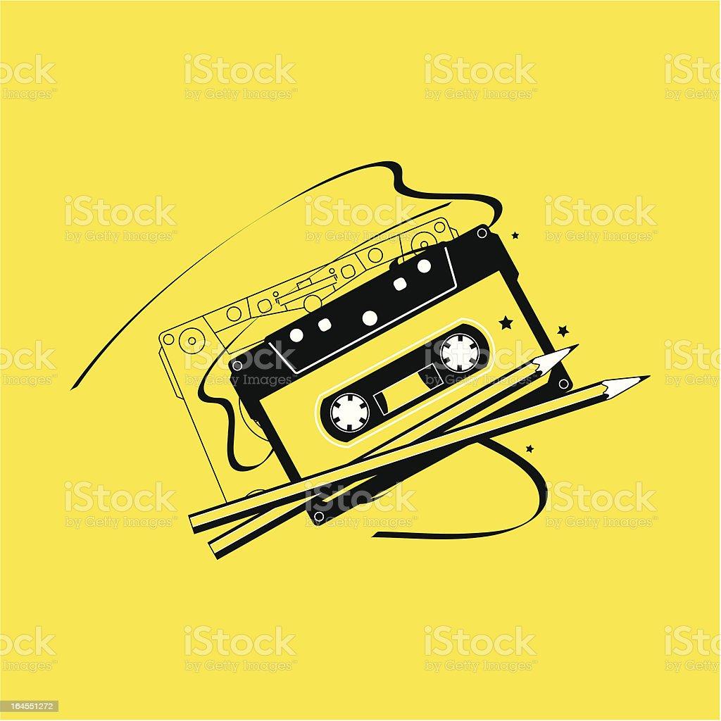 Audio Cassette Tape and Pencils vector art illustration