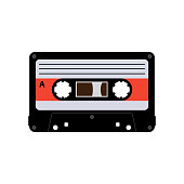 Drawing isolated on a white background. Audio cassette tape flat vector. Eps10.