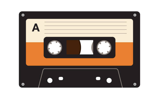 Audio Cassette Tape Retro Colored Audio Cassette Tape on the White Background tape stock illustrations
