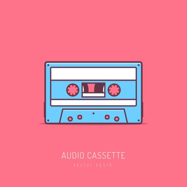 Audio Cassette Retro audio cassette mono line art vector illustration tape stock illustrations