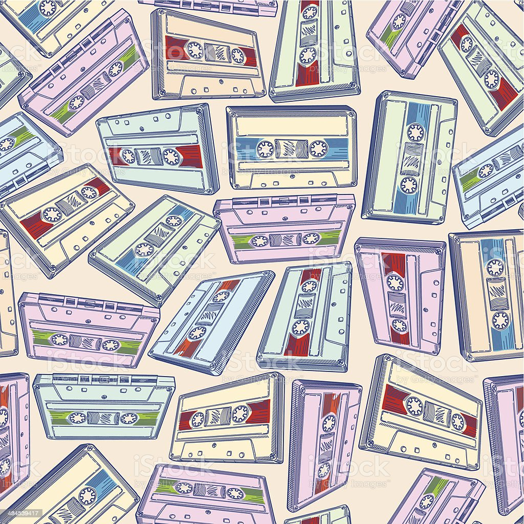 Audio cassettes seamless pattern vector art illustration