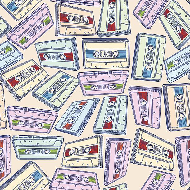 bildbanksillustrationer, clip art samt tecknat material och ikoner med audio cassettes seamless pattern - hip hop poster