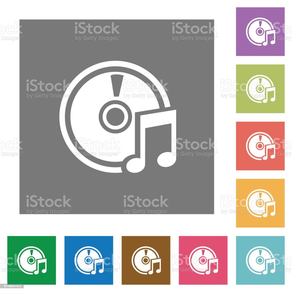 Audio CD square flat icons royalty-free audio cd square flat icons stock vector art & more images of applying