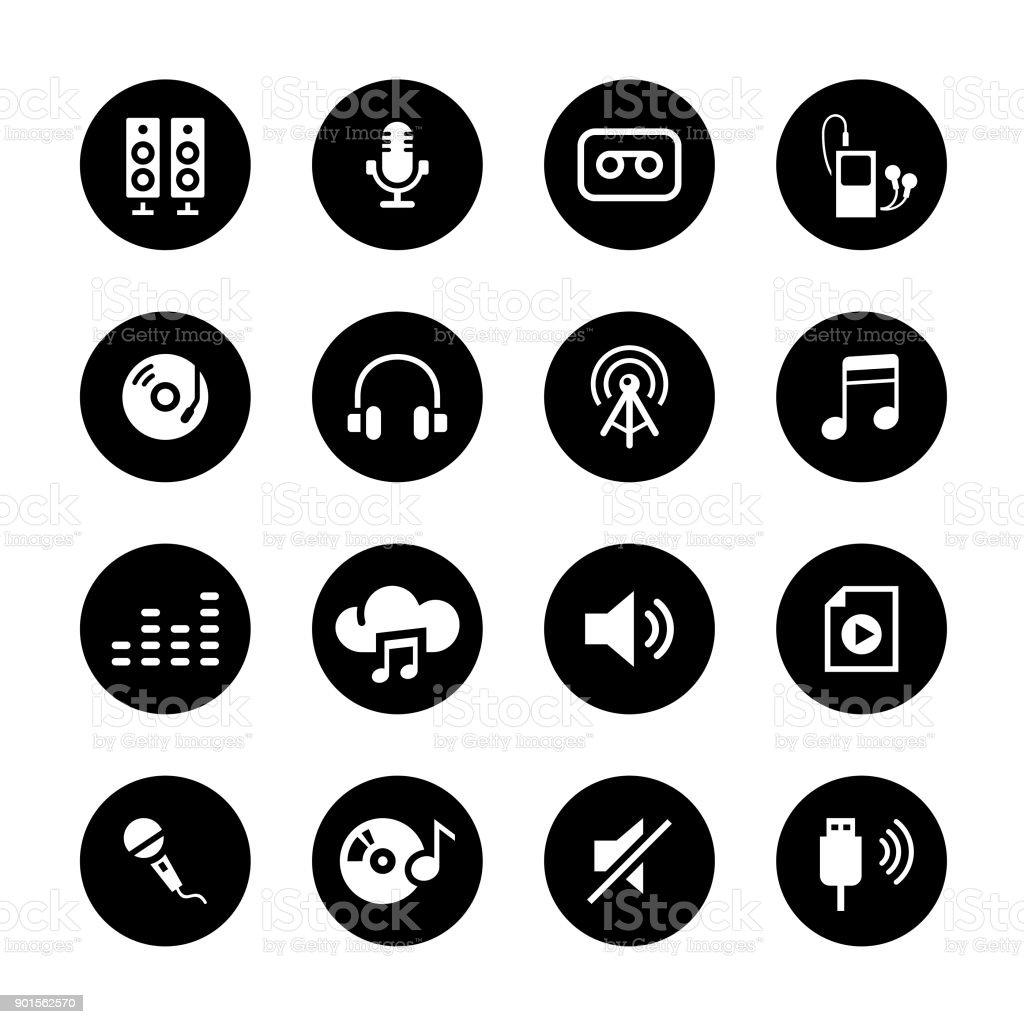 Audio Circle Icons Set