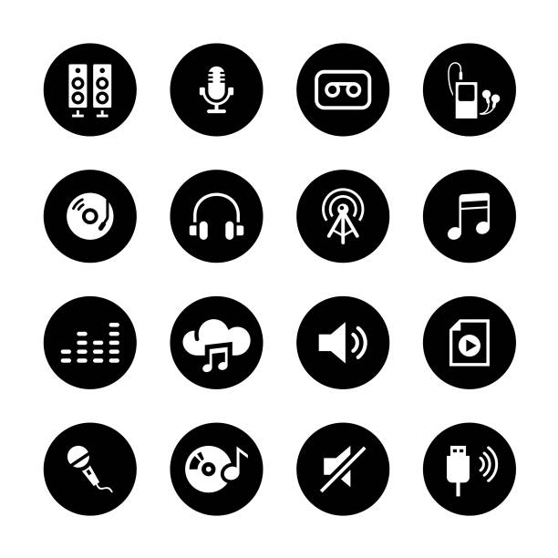オーディオ サークルのアイコンを設定 - 音楽のアイコン点のイラスト素材/クリップアート素材/マンガ素材/アイコン素材