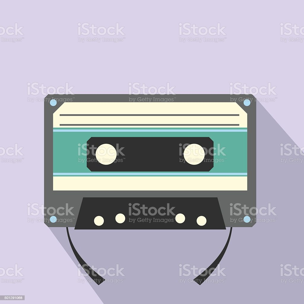 Audio compact cassette flat icon vector art illustration