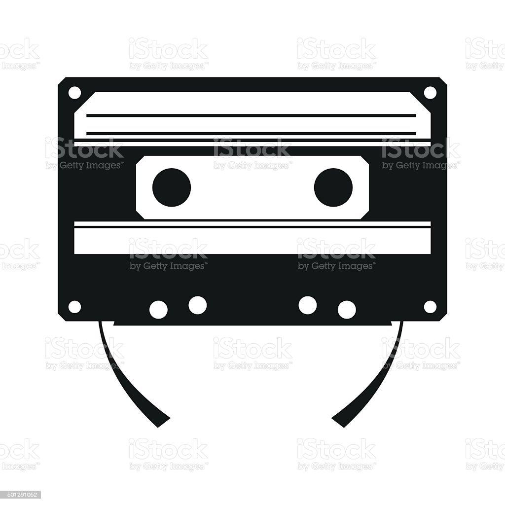 Audio compact cassette simple icon vector art illustration