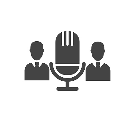 Audio conference vector icon on white isolated background.
