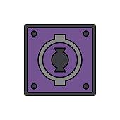 Audio, connector, speak on icon. Element of color music studio equipment icon. Premium quality graphic design icon. Signs and symbols collection icon
