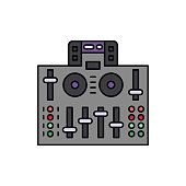 Audio, controller, dj icon. Element of color music studio equipment icon. Premium quality graphic design icon. Signs and symbols collection icon