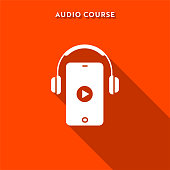 Audio Course Flat Icon with Long Shadow and Pixel Perfect.