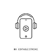 istock Audio Course Line Icon with Editable Stroke and Pixel Perfect. 1227120777