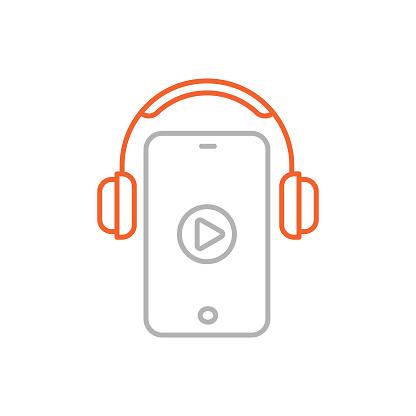 Audio Course Line Icon with Editable Stroke
