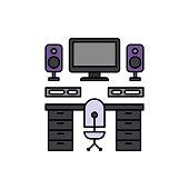 Audio, desk, working set icon. Element of color music studio equipment icon. Premium quality graphic design icon. Signs and symbols collection icon