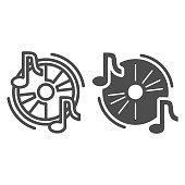 Audio disc line and solid icon, Music festival concept, Cd and music notes sign on white background, Musical symbol in outline style for mobile concept and web design. Vector graphics
